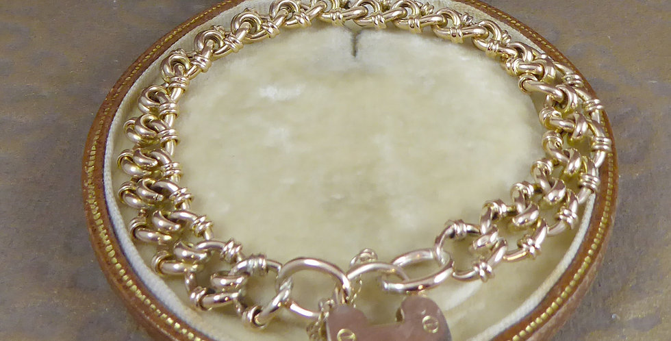 Antique Gold Bracelet with Padlock Hallmarked Birmingham 1901
