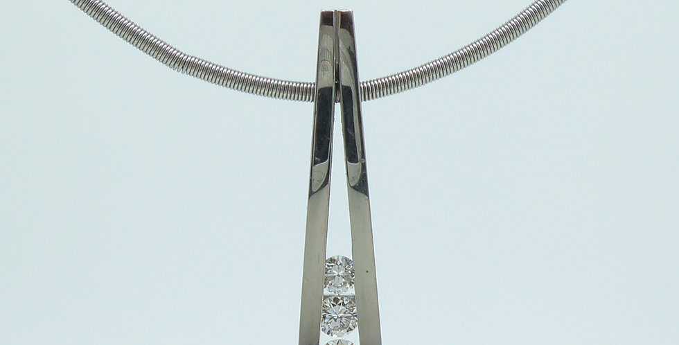 0.42 Carat Diamond Pendant, Contemporary Design on Platinum Cable