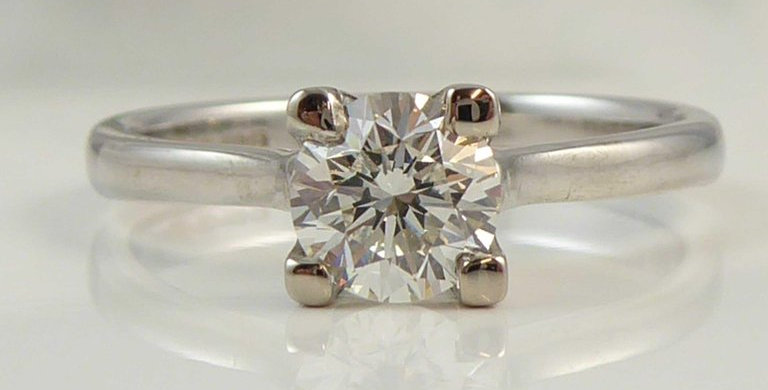 Certified Contemporary Diamond Solitaire Ring, Brilliant Cut Diamond 0.70 Carat