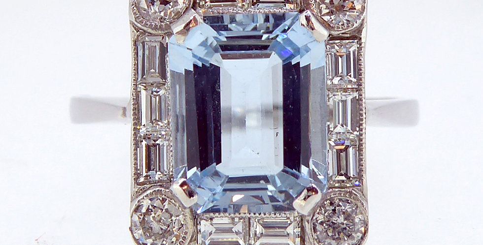 Art Deco Style 2.50 Carat Aquamarine and Diamond Ring,
