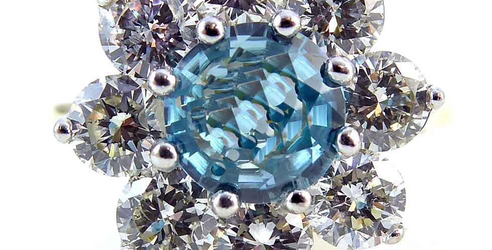 Late 20th Century Blue Zircon and Diamond Cluster Ring