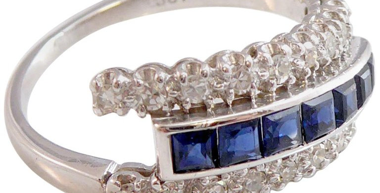 1980s Style Vintage 0.76ct Sapphire and Diamond Dress Ring, Triple Band