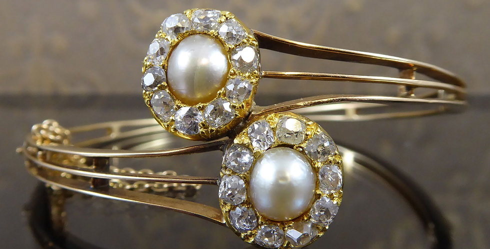 Antique Diamond and Pearl Double Cluster Bangle, Victorian Era