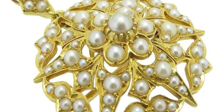 Victorian Antique Pearl Gold Pendant Brooch, Circa 1890s