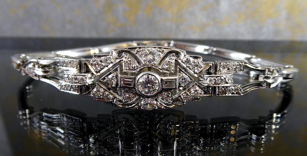 Vintage Art Deco Diamond Bracelet, Circa 1930s