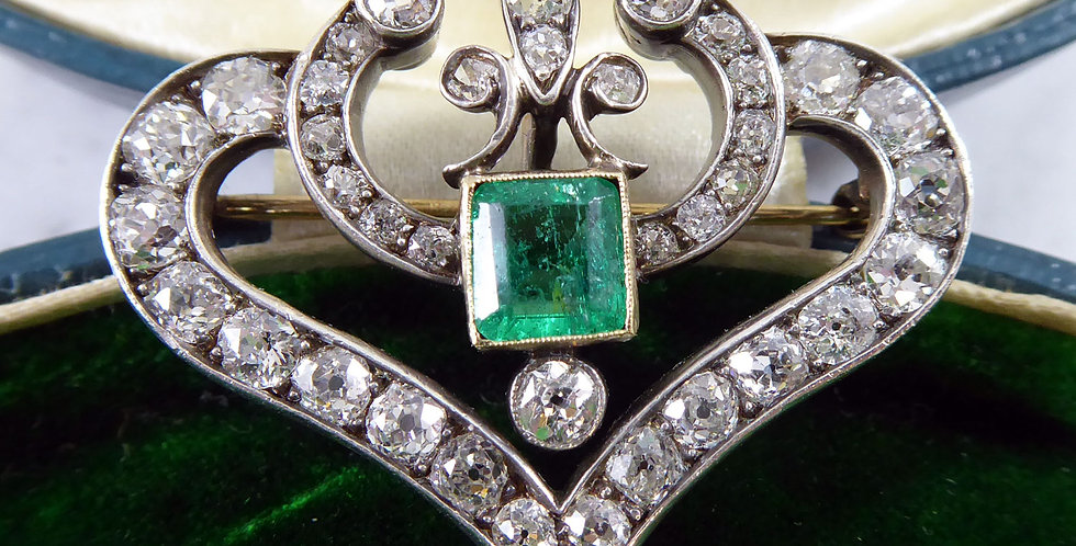 Late Victorian 1.0 Carat Emerald and 2.78 Carat Diamond Pendant/Brooch