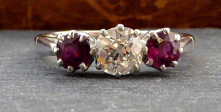 Vintage Trilogy Engagement Ring, set with Old Brilliant Cut Diamonds and Ruby