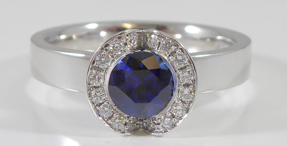 Contemporary Sapphire and Diamond Engagement Ring, Cluster Style, White Gold