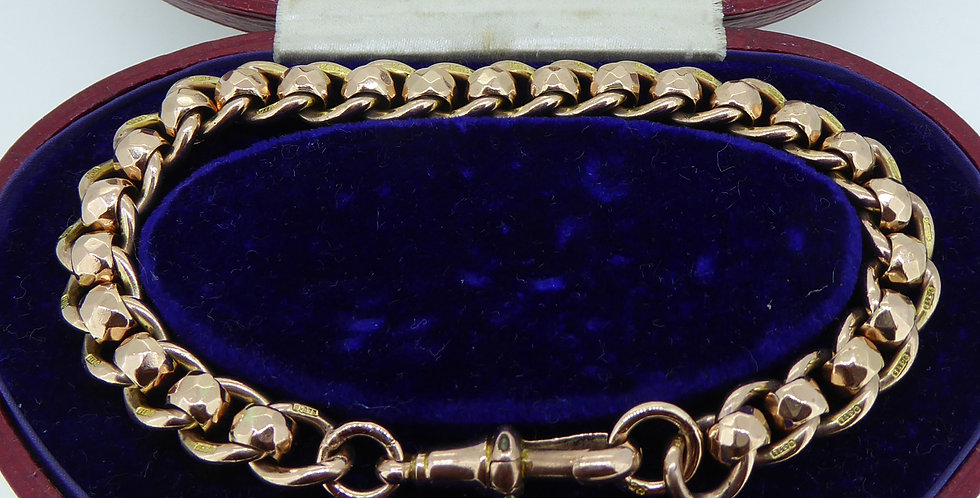 Antique Gold Albert Watch Chain in antique velvel jewellery box