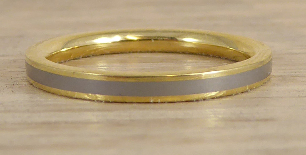 Titanium wedding ring with yellow gold, front view