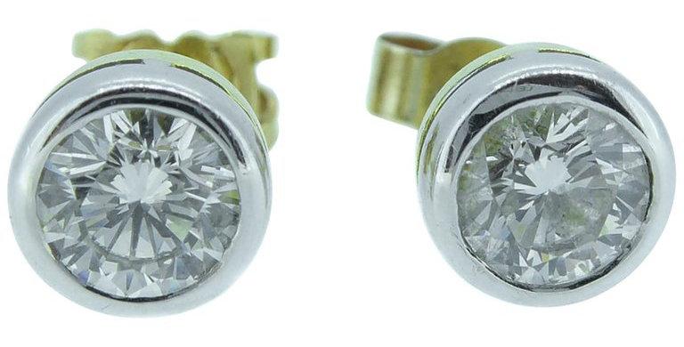 1.07 Carat Diamond Stud Earrings, 18 Carat Gold, London, 2000