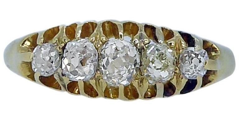 Antique Old Cut Diamond Ring, Navette Setting 18 Carat Hallmarked London, 1914