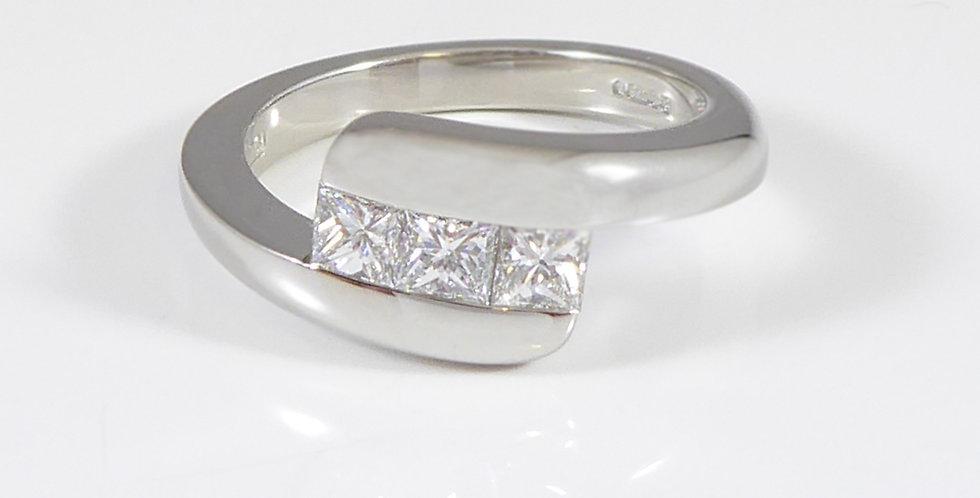 Contemporary Trilogy Diamond Engagement Ring, Princess Cut Diamonds, Platinum