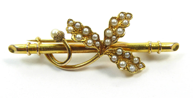 Antique Victorian Pearl Oakleaf Brooch, 15ct Gold