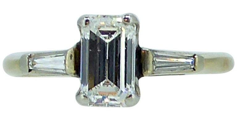 Art Deco Style Emerald Cut Diamond Ring, Tapered Baguette Diamond Shoulders