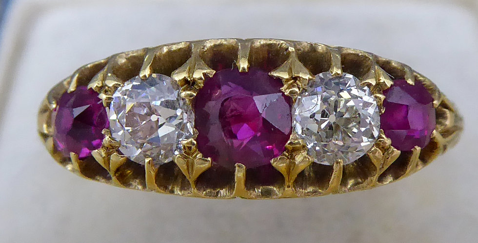 Victorian ruby and diamond ring in an antique ring box