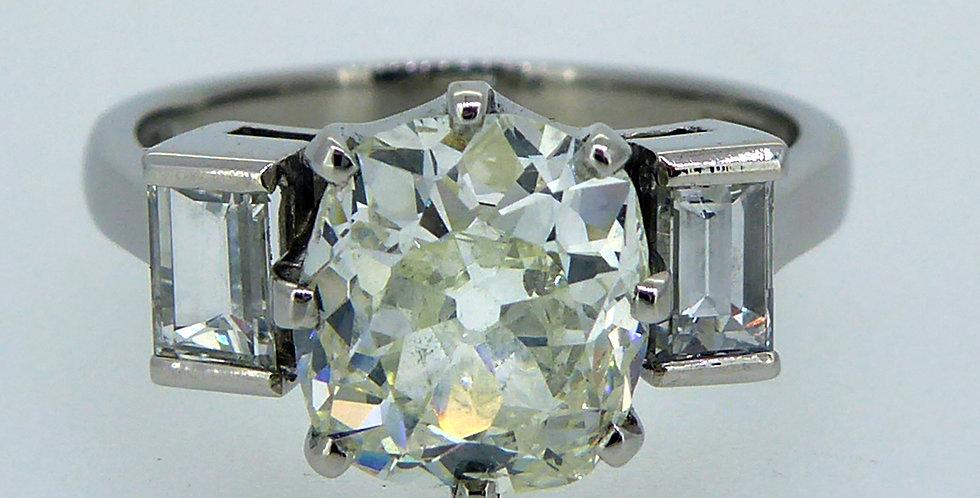 Antique Old European Cut Diamond 3 Stone Ring with Baguette Diamond Shoulders