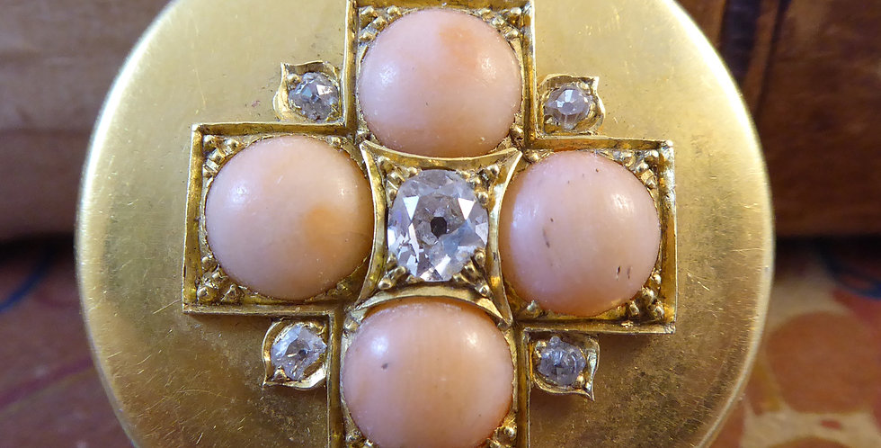 Victorian Old European Cut Diamond and Coral Locket in 18 Carat Yellow Gold