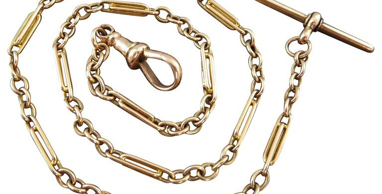 Antique Victorian Gold Watch Chain, Trombone Links, circa 1900