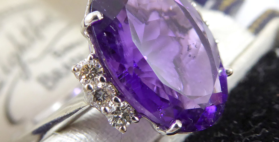 Pre-owned Amethyst and Diamond Ring, C14ct White Gold, Contemporary Design