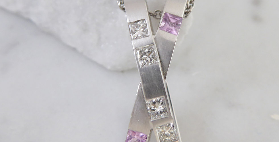 Contemporary Princess Cut Diamond and Pink Sapphire Pendant, White Gold