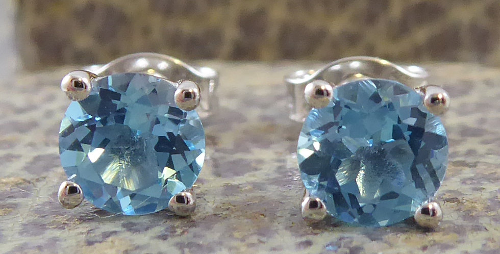 Modern Blue Topaz Stud Earrings in White Gold - New and Unworn