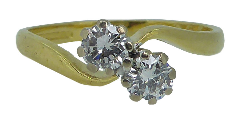 Vintage Two Stone Diamond Twist Engagement Ring in 18ct Gold