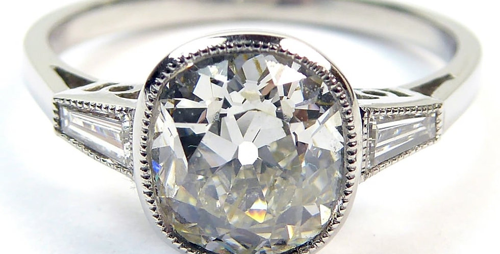 Old-Cut Diamond Solitaire Ring, 1.60ct, in Platinum Setting