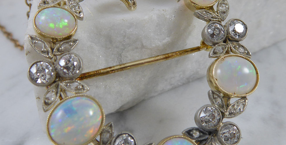 Victorian and Opal Diamond Brooch, Circa 1890s