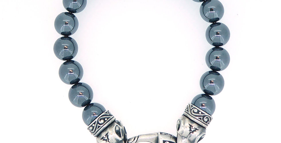 Contemporary Haematite and Silver Raven's Head Bracelet