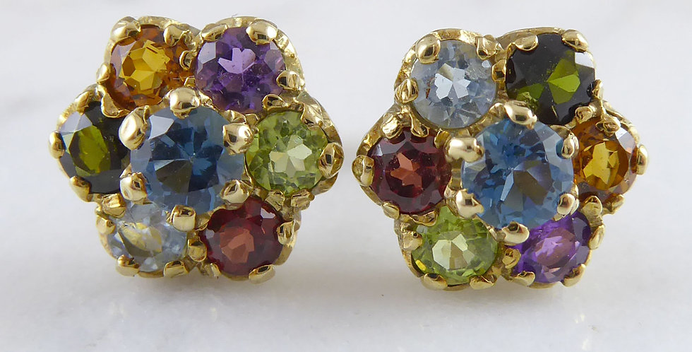 Vintage Multi-Stone Earrings in Yellow Gold, Floral Design, Pierced Ears Only, front view