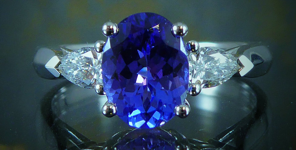 Tanzanite and Pear Shaped Diamond Engagement Ring, White Gold