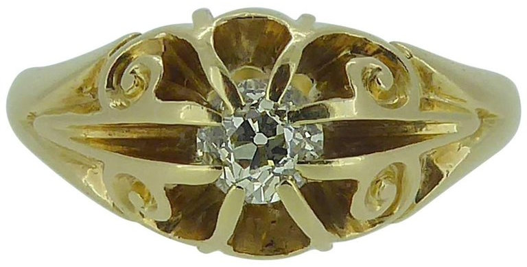 Antique Diamond Solitaire Ring 0.25 Carat , 18ct Gold, Hallmarked Chester