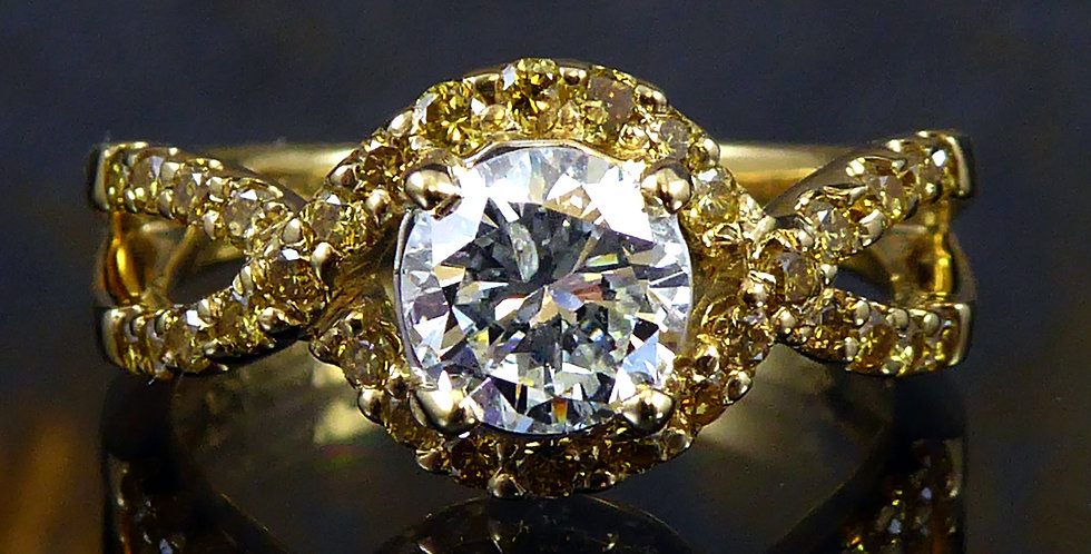 Diamond Solitaire Ring with Diamond Set Halo Surround and Shoulders