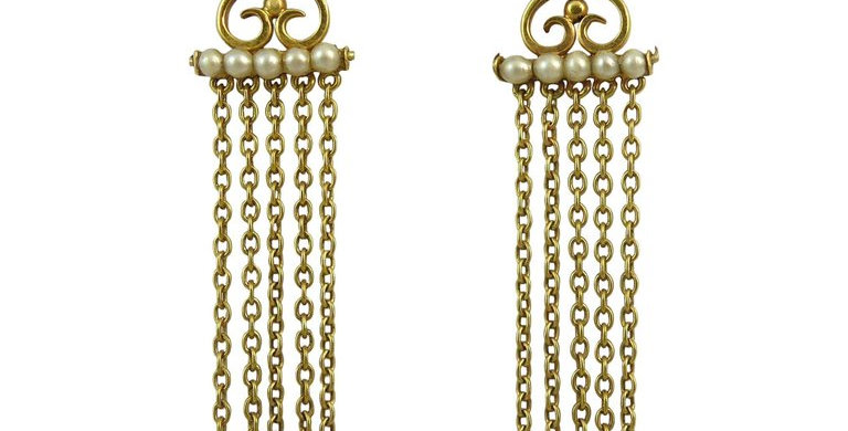 Antique Edwardian Drop Earrings with Pearls, 9 Carat Gold