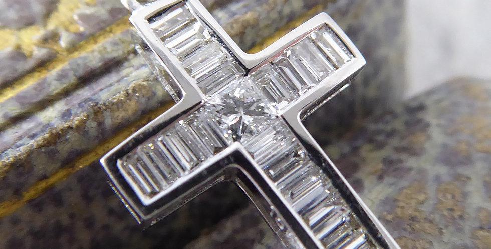 Princess Cut Diamond and Baguette Cut Diamond Set Pendant, 18ct White Gold