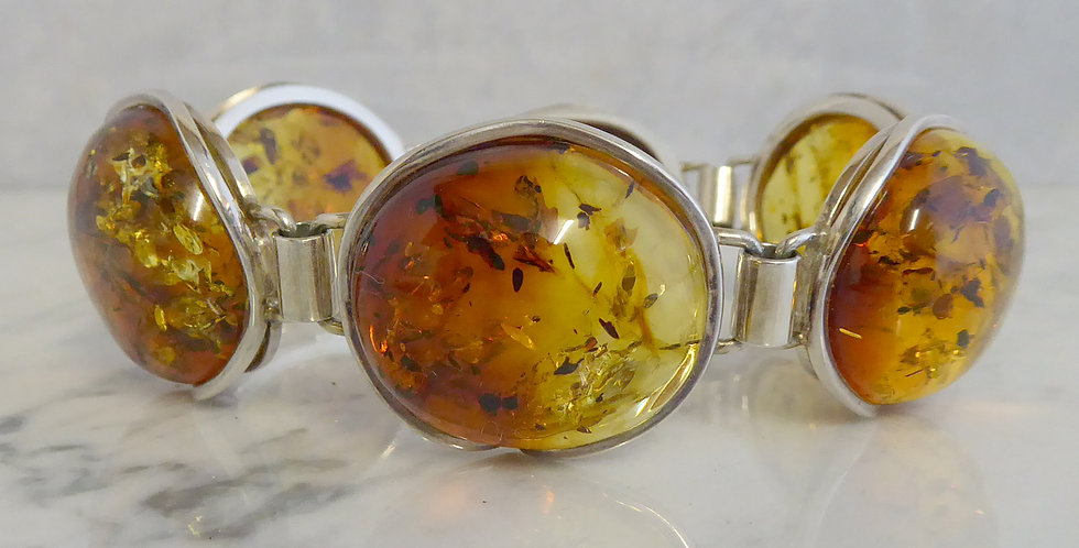 Pre-owned Amber Bracelet in Silver, Set with Large Cabochon Cut Stones