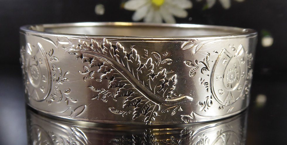 Antique Silver Bangle Dated 1888 with Wedding Symbolism