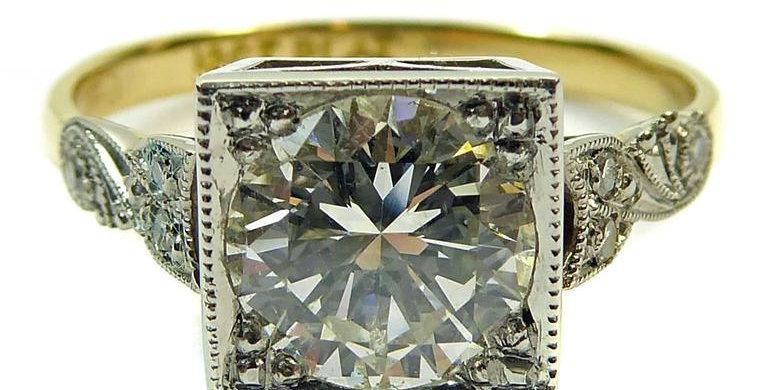 Vintage Diamond Solitaire Ring, 1.31 Carat, Diamond Set Shoulders on Yellow Band