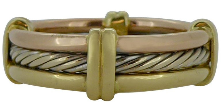 Vintage Three-Color Gold Triple Band Ring, Hallmarked 18 Carat Gold, 1993