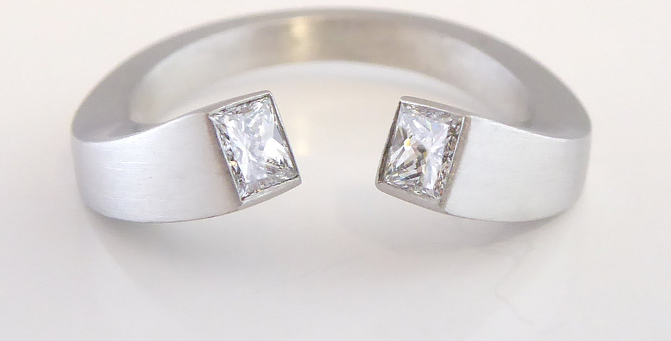 Modern Design Princess Cut Diamond Two Stone Ring in Platinum