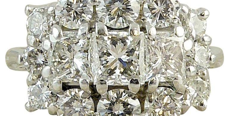 Modern 2.06 Carat Diamond Cluster Ring, 18ct White Gold