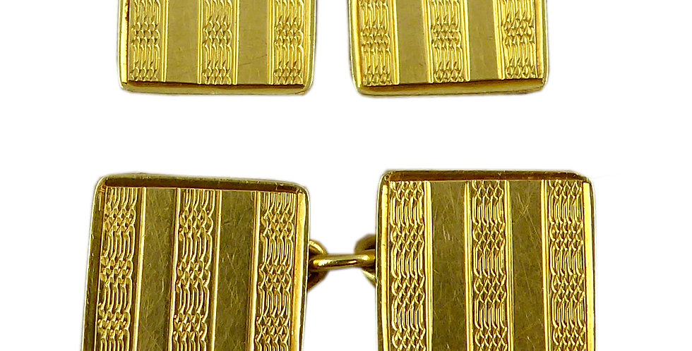 Art Deco Vintage Cufflinks, 18ct Gold, Hallmarked Birmingham 1928
