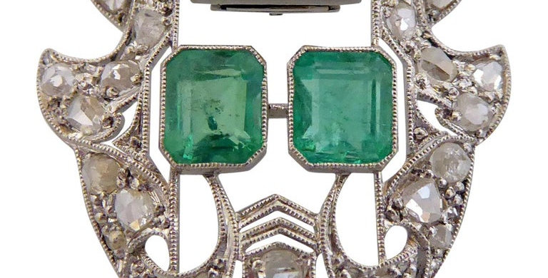 Art Deco Emerald and Diamond Brooch Clip