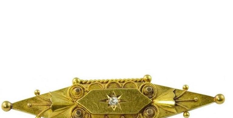 Victorian Old Cut Diamond Brooch, 15 Carat Gold, Circa 1890s