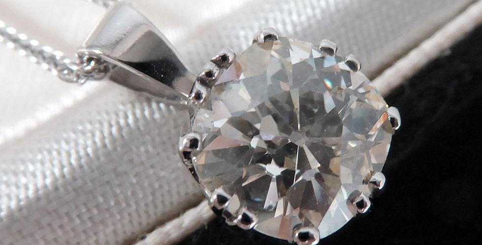 2.27 Carat Old European Cut Diamond Pendant, Platinum Setting