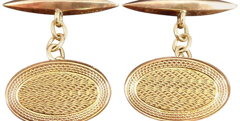 Art Deco Vintage Cufflinks, Rose Gold, Hallmarked 1927
