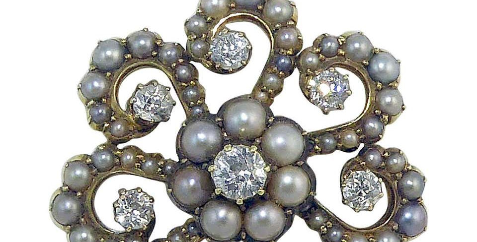 Antique Old Cut Diamond and Pearl Pendant, Victorian Circa 1890s