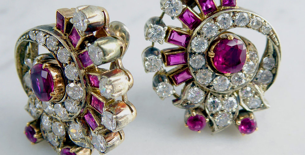 Art Deco 2.20 Carat Diamond and Ruby Earrings, Clip On Fittings,