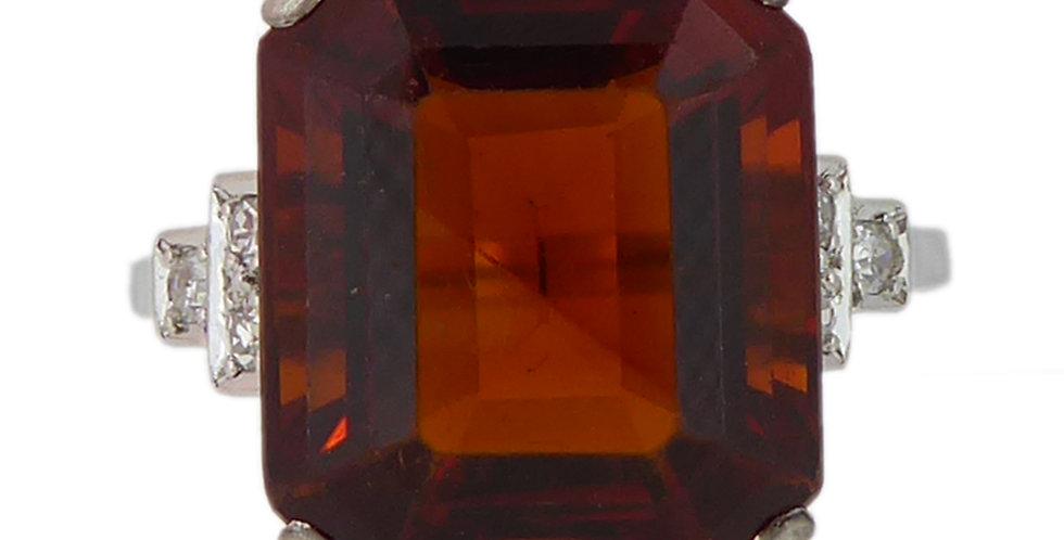 Vintage 9.16ct Madeira Quartz Cocktail Ring, Art Deco Design Diamond Shoulders,
